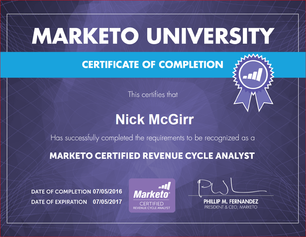 Marketo Certified Revenue Cycle Analyst Lead2crm A Marketing